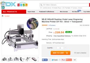 NEJE 500mW Desktop Violet Laser Engraving Machine Printer